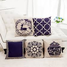 taie d oreiller pour canapé style chinois coussin bleu et blanc porcelaine coussin couverture