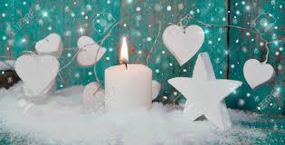 chrismas decaration with white candle local caption chrismas stock