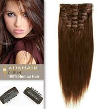 cheap human hair extensions 7 pcs clip in human hair extensions 15 inches 4 medium brown