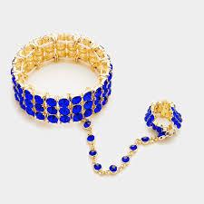 sapphire crystal bracelet images Gold blue sapphire crystal bracelet hand chain stretch ring jpg