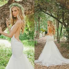 low back wedding dresses bohemian stain and tulle low back mermaid wedding dresses
