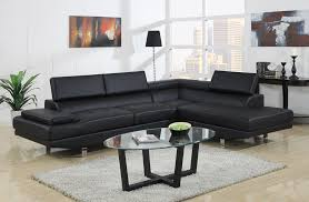 Affordable Modern Sofas Baxton Studio Selma Black Leather Modern Sectional Sofa