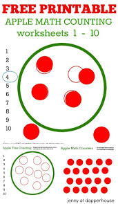 math counting worksheet free printable math worksheets apple tree counting 1 10
