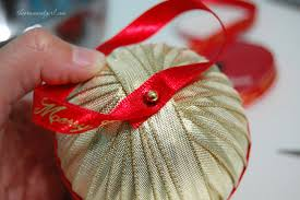 handmade ribbon wrapped ornament diy the