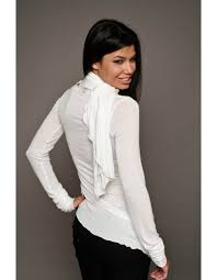 scarf blouse asymmetrical blouse with a built in scarf and sleeves by city
