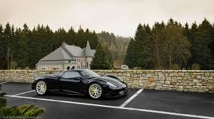 Porsche 918 Black - porsche 918 spyder with mansion in background weissach package