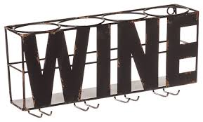 cape craftsmen wine word metal wall wine bottle and glass rack