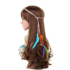hippie hair accessories awaytrawaytr bohemia style handmede leather rope feather