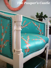 Fabric Paint For Upholstery The Pauper U0027s Castle Re Upholster With Paint Tutuorial