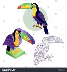 toucan flat icon template coloring stock vector 388746754