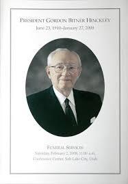 a funeral program funeral program for president gordon b hinckley deseret news