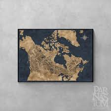 Map Art Fantasy Style Illustrated Map Of Canada Canada Map Art Wall