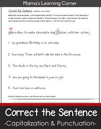 correct the sentence capitalization and punctuation worksheet