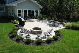 Stone Patio With Fire Pit Tumbled Paver Patio With Planting Beds Gardening Pinterest