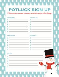 potluck sign up sheet free to print pinteresting