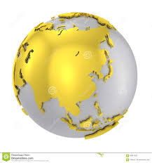 Continents On Map World Map With Highlighted Continents On The Globe Stock Vector