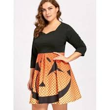 plus size halloween pumpkin face vintage party dress black xl in