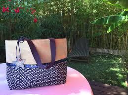 sac cabas lin sac cabas lin imprimé bleu marine tendances du monde