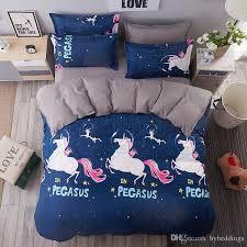 Unicorn Bed Set Unicorn Pegasus Bedding Set Blue Duvet Cover Bed
