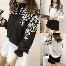 black and white blouses embroidery blouse shirt blouses white black embroidered tops