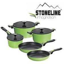 batterie de cuisine en stoneline stoneline set de 8 pieces en imagination vert achat