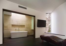 interior modern minimalist bathroom design with black laminate