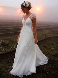 outdoor wedding dresses open back cap sleeves lace outdoor wedding dress