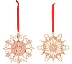 lenox set of 2 10k gold plated snowflake ornaments with