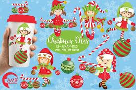 christmas elves christmas elves clipart graphics illu design bundles