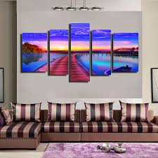 3 style 5 panel seaside nightfall u0026 boat home decor canvas