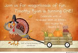 turkey fall birthday invitation playful thanksgiving wagon