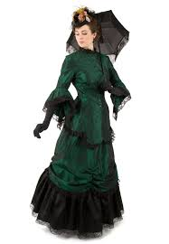 Halloween Victorian Costumes Corrina Victorian Bustle Dress 2 Piece Ensemble Long Jacket