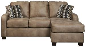 Brown Leather Sofa With Chaise Contemporary Faux Leather Sofa Chaise By Benchcraft Wolf And
