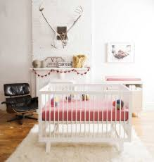 Oeuf Crib Mattress Bedroom Beautiful Room White Oeuf Sparrow Crib With Pink
