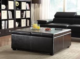 coffee tables exquisite rectangle black leather storage ottoman
