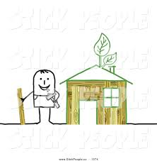 eco friendly house vector graphic of a stick man building an eco friendly house by nl