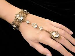 bridal bracelet with ring images Swarovski crystal slave bracelet with ring victorian jewelry jpg