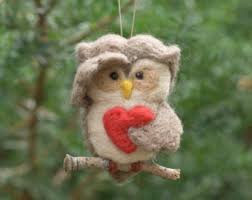 needle felted owl ornament marshmallow cocoa by victoriaart777
