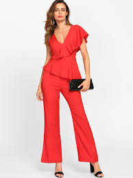 plunging jumpsuit flounce one shoulder plunging tailored jumpsuit shein sheinside