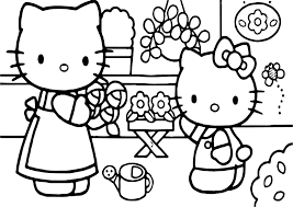 hello kitty with mother coloring page wecoloringpage