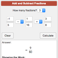 fractions math adding fractions calculator