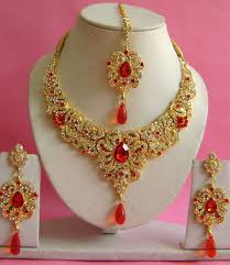 diamond necklace red images Red gold plated stones with diamond necklace set jpg