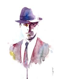 paint man items similar to mad men don draper inspired watercolor painting