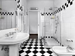 black and white tile patterns for this bathroom create a rock star color scheme the