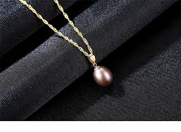 yellow gold pendant necklace images 18k yellow gold pendant red freshwater pearl pendant necklace gift jpg