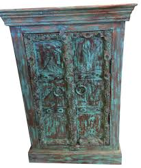 Distressed Wood Bar Cabinet Consigned Antique Distressed Blue Side Table Nightstand Bar