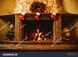 warm cozy fireplace decorated christmas real stock photo 327170684