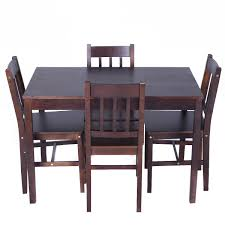 kitchen breakfast table costway 5 piece dining table u0026 chairs set wood metal kitchen