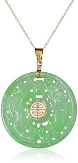 jade with gold necklace images 14k yellow gold carved green jade good fortune pendant jpg