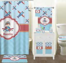 Custom Bathroom Shower Curtains Airplane Theme Shower Curtain Personalized Potty Concepts